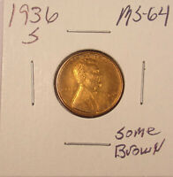 1936 S LINCOLN CENT GEM BU COMBINED SHIPPING..LOT5784