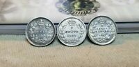 LOT OF 3 CANADA SILVER FIVE CENTS 5C 1899 1901 & 1902 NICE D