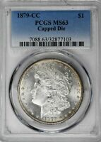 1879-CC $1 CAPPED DIE MORGAN DOLLAR PCGS MINT STATE 63 BLAST WHITE LUSTER SILVER