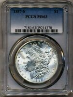 1887-S MORGAN PCGS MINT STATE 63 BRIGHT WHITE SILVER DOLLAR COIN  SAN FRANCISCO MINT