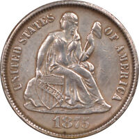 1875-CC SEATED LIBERTY DIME - BELOW - HIGH GRADE EXAMPLE BUT CLEANED