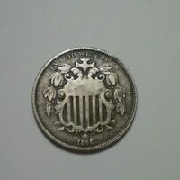 1866 WITH RAYS SHIELD NICKEL FINE