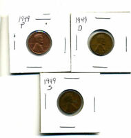 1949 P,D,S WHEAT PENNIES LINCOLN CENTS CIRCULATED 2X2 FLIPS 3 COIN PDS SET242