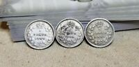 LOT OF 3 SILVER CANADA FIVE CENTS 5C 1888 1898 & 1899