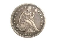 1847 SEATED LIBERTY DOLLAR LOOKS VF UNCLEANED A FEW RIM BUMBS