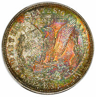 1921-D $1 MORGAN DOLLAR PCGS MINT STATE 64 MONSTER RAINBOW TONED SILVER COIN