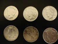 6 COINS US PEACE SILVER DOLLAR COLLECTION $1.00 1922   90  B