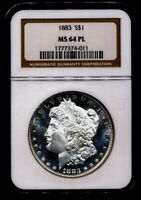 1883 MORGAN NGC MINT STATE 64-PL CAMEO PROOF LIKE SILVER DOLLAR COIN PHILADELPHIA MINT