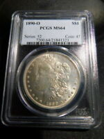 US MORGAN SILVER DOLLAR 1890-O MINT STATE 64 PCGS