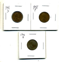 1941 P,D,S WHEAT PENNIES LINCOLN CENTS CIRCULATED 2X2 FLIPS 3 COIN PDS SET1167