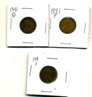 1941 P,D,S WHEAT PENNIES LINCOLN CENTS CIRCULATED 2X2 FLIPS 3 COIN PDS SET1119