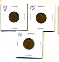1941 P,D,S WHEAT PENNIES LINCOLN CENTS CIRCULATED 2X2 FLIPS 3 COIN PDS SET1157