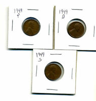 1949 P,D,S WHEAT PENNIES LINCOLN CENTS CIRCULATED 2X2 FLIPS 3 COIN PDS SET167