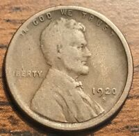 1920 S UNITED STATES LINCOLN WHEAT CENT COIN  FINE SAN FRANCISCO MINT