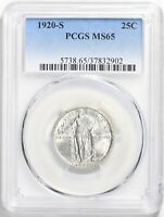 1920-S STANDING LIBERTY 25C QUARTER KEY DATE PCGS MINT STATE 65