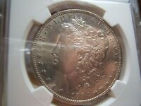 1884-S MORGAN SILVER DOLLAR NGC AU58 WITH PL/DMPL OBVERSE  LOOK