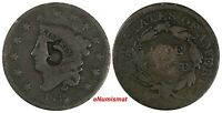 US COPPER 1835 CORONET HEAD LARGE CENT 1 C. COUNTERSTAMP