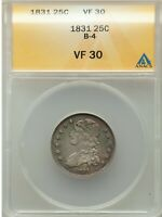1831 CAPPED BUST QUARTER 25C ANACS VF30 B-4 TYPE COIN