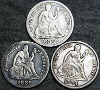 1888 1889 1891 SEATED LIBERTY DIMES ---- TYPE COINS LOT ---- B517