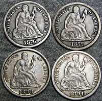 1876-S 1877 1890 1891 SEATED LIBERTY DIMES ---- TYPE COINS LOT ---- B518