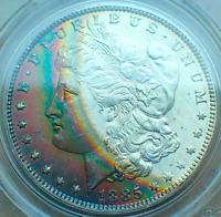 1885-O MORGAN SILVER DOLLAR, MAGNIFICENT CRESCENT RAINBOW TONING, PCGS MINT STATE 64 CAC