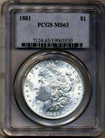 1881 MORGAN PCGS MINT STATE 63 SHINY BRIGHT WHITE SILVER DOLLAR COIN PHILADELPHIA MINT
