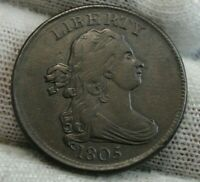 1805 DRAPED BUST HALF CENT,   COIN, SHIPS FREE  9530