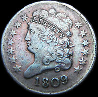 1809 CLASSIC HEAD HALF CENT 1/2 PENNY TYPE US COIN  ----   ---- B971