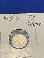 1856 THREE CENT 3C SILVER CIRCULATED US COIN NO RESERVE; SEE