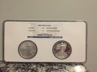 2007 AMERICAN SILVER EAGLE 2 COIN SET - EARLY RELEASES - NGC MS & PF 69 W