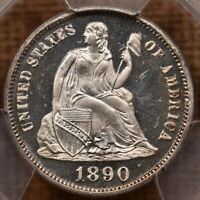 1890 LIBERTY SEATED DIME PCGS PR65 CAM ONLY 590 MINTED DAVID
