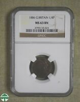 LOVELY 1886 GREAT BRITAIN FARTHING   NGC CERTIFIED   MS 63 B