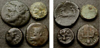 4 ANCIENT GREEK AE COINS INCL SICILY PAESTUM