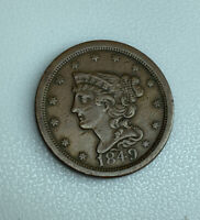 1849 LARGE DATE BRAIDED HAIR U.S. HALF CENT 1/2C AUCTION