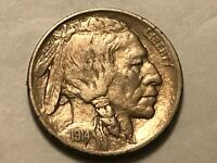 SHARP 1914 D BUFFALO NICKEL. SOME HITS ON OBVERSE UPPER RIGH