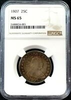 1807 DRAPED BUST SILVER QUARTER CERTIFIED MS 65 BY NGC  POP
