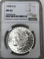 NGC CERTFIED MINT STATE 62 1878 S MORGAN DOLLAR, FROSTY WHITE      802
