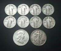 US LOT OF 10 SILVER OLD COINS 1925    1963 LIBERTY QUARTERS