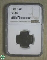 1804 HALF CENT   NGC CERTIFIED   G6   LARGE CUD OVER R T Y I