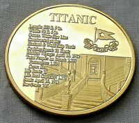 TITANIC GOLD STAIRS COIN COMMEMORATION MEDAL WORLDS FAMOUS S