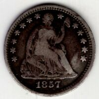 1857 US SEATED LIBERTY HALF 1/2 DIME FIVE 5 CENT SILVER COIN