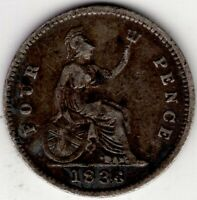 1836 GREAT BRITAIN FOUR 4 PENCE GROAT WILLIAM IIII IV STERLI