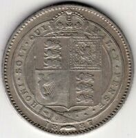 1887 GREAT BRITAIN ONE 1 SHILLING VICTORIA STERLING SILVER C