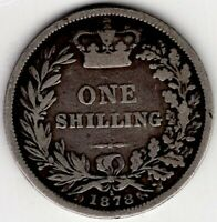1878 GREAT BRITAIN ONE 1 SHILLING VICTORIA STERLING SILVER C