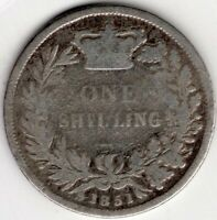 1851 GREAT BRITAIN ONE 1 SHILLING VICTORIA STERLING SILVER C