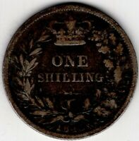 1840 GREAT BRITAIN ONE 1 SHILLING VICTORIA STERLING SILVER C