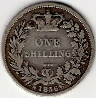1836 GREAT BRITAIN ONE 1 SHILLING WILLIAM IIII IV STERLING S