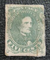 NYSTAMPS US CSA CONFEDERATE STAMP  1 MINT OG H $325 REPAIRED