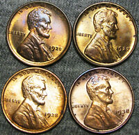 1920 1927 1928 1938-D LINCOLN WHEAT CENTS -- GEM BU CONDITION LOT -- F166