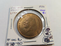 L146 GREAT BRITAIN 1936 PENNY RED BU